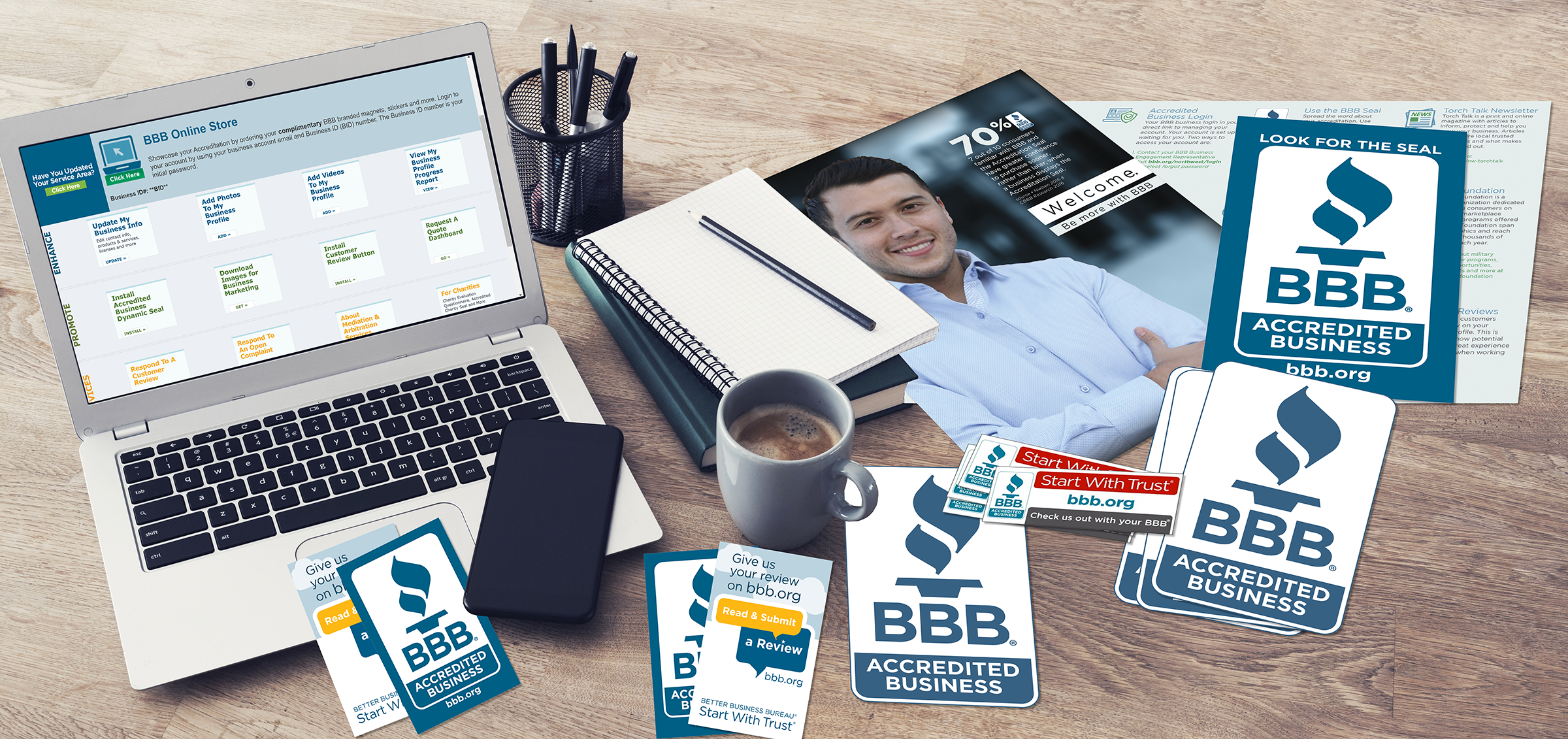 BBB Branded signage for accredited businesses