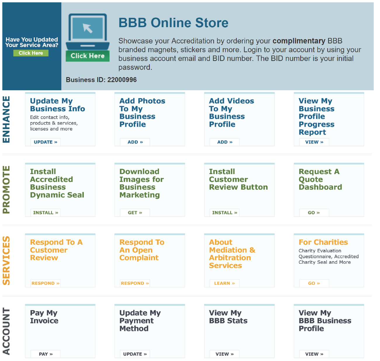 Manage your BBB business listing